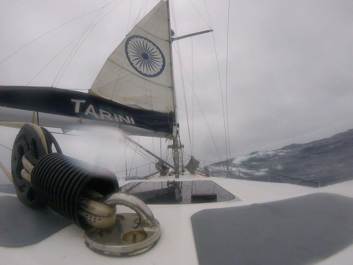 The crew is battling the storm that they have experienced in the Pacific ocean.