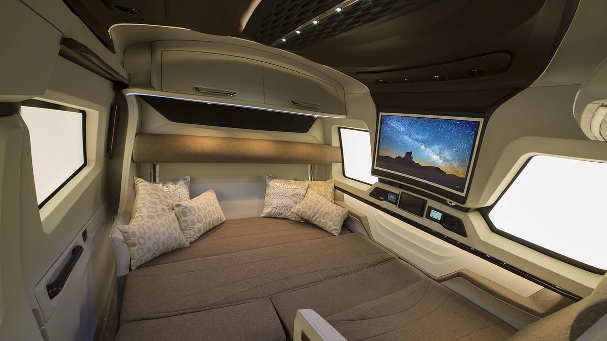 The inside of Pinnacle Specialty Vehicles' luxury motor home.