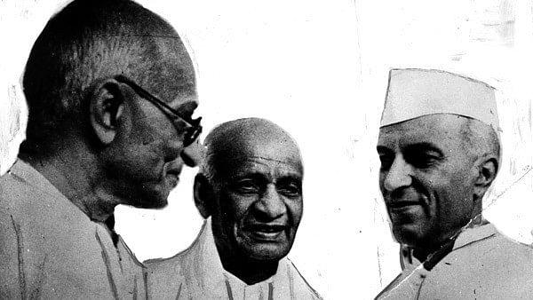 Mahatma Gandhi, Sardar Patel and Pandit Nehru.