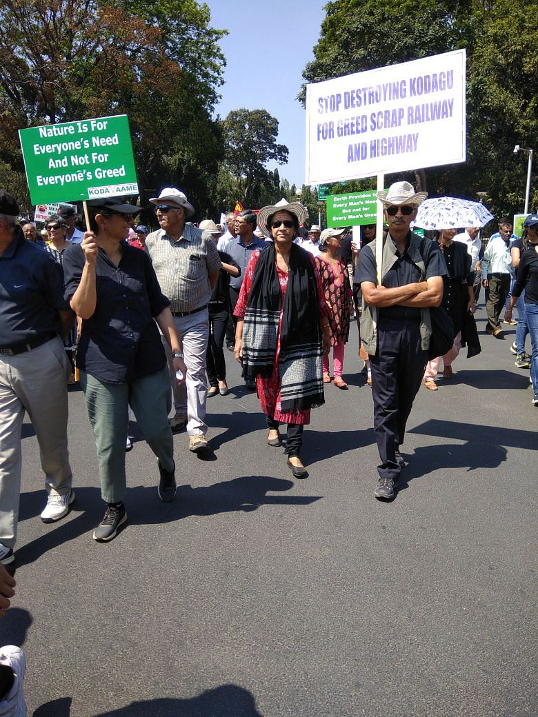 Protesters hold a peaceful rally in Mysuru on 18 February 2018