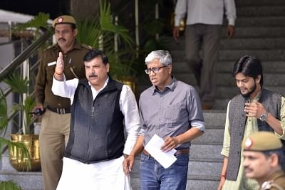 New Delhi: AAP leaders Sanjay Singh and Ashutosh come out of the police headquarters after meeting Delhi Police Commissioner Amulya Patnaik  in New Delhi on Feb 26, 2018. (Photo: IANS)