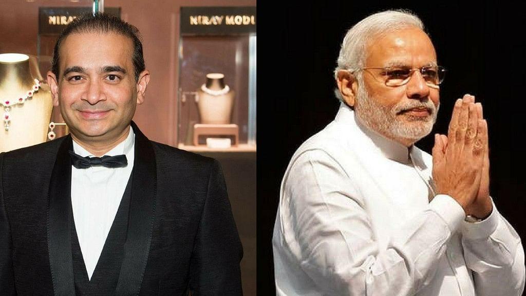 Indian jeweller Nirav Modi (left) and Prime Minister Narendra Modi (right).