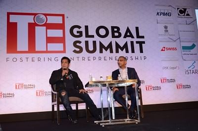 Mumbai: Actor Salman Khan in conversation with DSK Legal Managing Partner Anand Desai at the TiE Global Summit in Mumbai on Feb 22, 2018. (Photo: IANS)