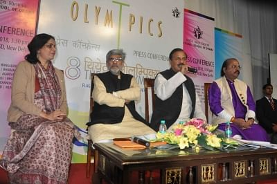 New Delhi: Union Tourism and Culture Minister Mahesh Sharma during a press conference regarding 8th Theatre Olympics organised by the National School of Drama (NSD) in New Delhi on Feb 13, 2018. (Photo: IANS)