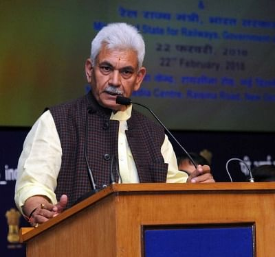 """New Delhi: Union MoS Communications and Railways Manoj Sinha addresses at the release of a """"Strategic Plan"""" and the Conference on current and emerging opportunities for PSUs, in New Delhi on Feb 22, 2018. (Photo: IANS/PIB)"""