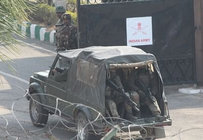 Jammu: Security personnel patrol the roads after a group of four-to-five heavily armed militants stormed an army camp; in Jammu on Feb 10, 2018. A JCO was critically injured and his daughter also suffered injuries when the militants entered the Sunjuwan Military Station around 4.45 a.m. hurling grenades and heavy volume of automatic gunfire early on Saturday. (Photo: IANS)