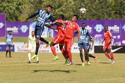 Panchkula: Players in action during an I-League match between Minerva Punjab FC and Aizawl FC at the Tau Devi Lal Stadium in Panchkula on Feb 26, 2018. Minerva Punjab FC jumped to the top of the I-League table with a clinical 2-0 victory over reigning champions Aizawl FC. (Photo: IANS)