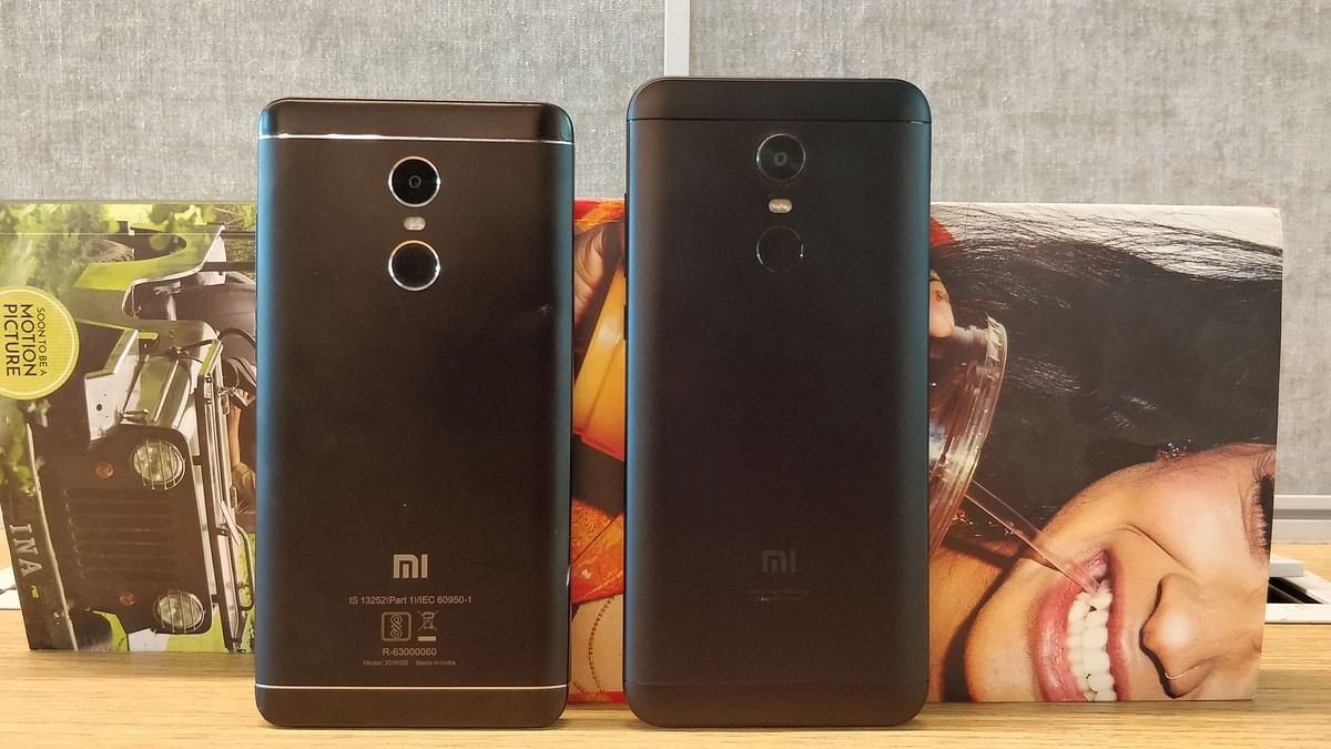 The full-metal design has been continued on the Redmi Note 5 (right)