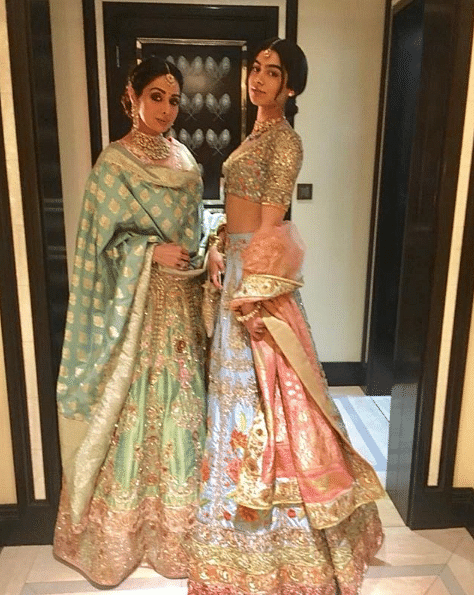 Sridevi posing with her daughter, days before her death  at her nephew's wedding in Dubai.