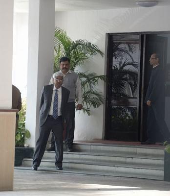 New Delhi: Delhi Chief Secretary Anshu Prakash arrives to meet Lieutenant Governor Anil Baijal in New Delhi, on Feb 20, 2018. (Photo: IANS)