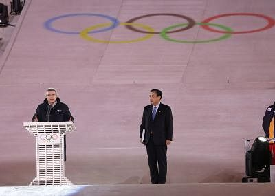 PYEONGCHANG, Feb. 25, 2018 (Xinhua) -- President of International Olympic Committee Thomas Bach (L) addresses during the closing ceremony for the 2018 PyeongChang Winter Olympic Games at PyeongChang Olympic Stadium, PyeongChang, South Korea, Feb. 25, 2018. (Xinhua/Bai Xuefei/IANS)
