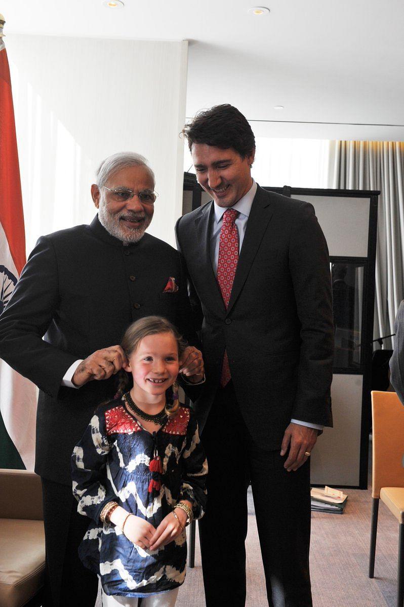 PM Modi with PM Trudeau and Trudeau's daughter Ella-Grace in April 2015.