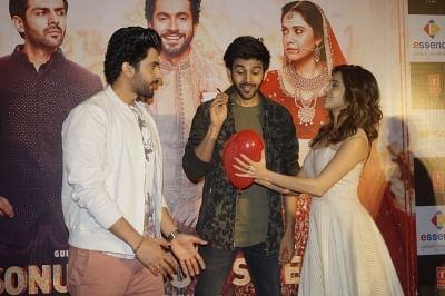New Delhi: Actors Kartik Aaryan, Sunny Nijar and Nushrat Bharucha during a press conference ahead of their upcoming film