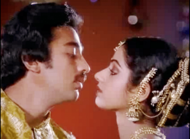 Kamal Haasan and Sridevi in <i>Pattabhishekam </i>(1982).