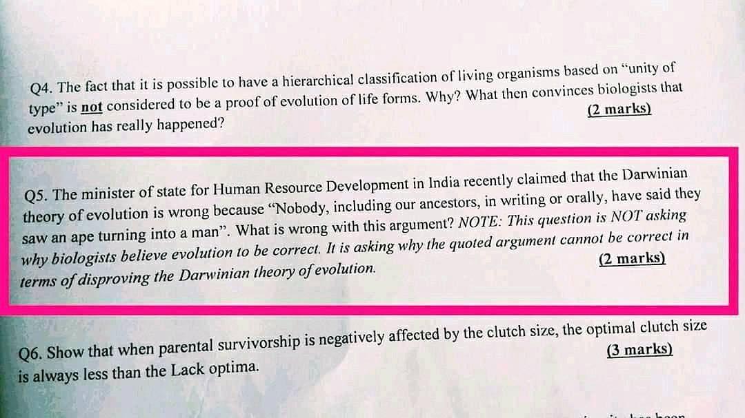 IISER Asks Students Why Satyapal Was Wrong About Darwin's Theory