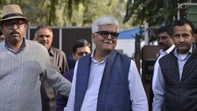 Delhi Government Employees Welfare Association (DGEWA) President DN Singh comes out after meeting Union Home Minister Rajnath Singh over alleged assault on Delhi Chief Secretary Anshu Prakash during a meeting with Chief Minister Arvind Kejriwal,  in New Delhi, on 20 February 2018.