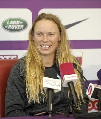 DOHA, Feb. 11, 2018 (Xinhua) -- Caroline Wozniacki of  Denmark attends a press conference ahead of the 2018 WTA Qatar Open in Doha, Qatar, on Feb. 11, 2018. (Xinhua/Nikku/IANS)