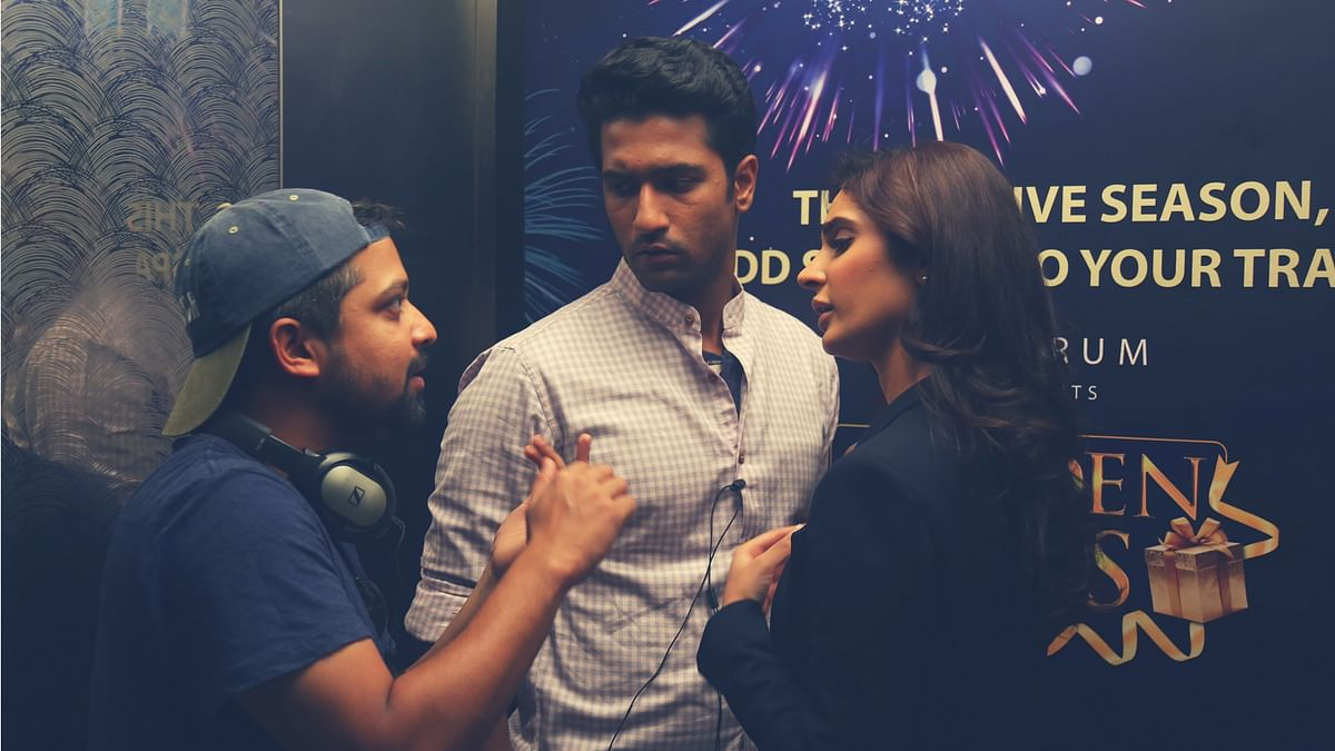 Anand Tiwari with Vicky Kaushal and Alankrita Sahai on the sets of <i>Love Per Square Foot.</i>
