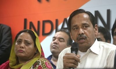 New Delhi: Former BSP leader Naseemuddin Siddiqui addresses after joining Congress at the party office in New Delhi on Feb 22, 2018. (Photo: IANS)