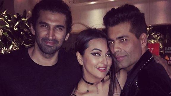Aditya Roy Kapur, Sonakshi Sinha & Karan Johar look ready to party all night long.