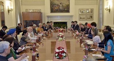 New Delhi: Prime Minister Narendra Modi and Canadian Prime Minister Justin Trudeau at the delegation level talks, at Hyderabad House, in New Delhi on Feb 23, 2018. (Photo: IANS/PIB)