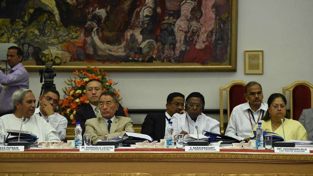 The chief ministers of Odisha, Nagaland, Puducherry, and Rajasthan, in New Delhi, on 23 April 2017.