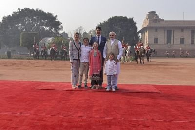 New Delhi: Prime Minister Narendra Modi welcome Canadian Prime Minister Justin Trudeau with wife Sophie Grégoire Trudeau, daughter Ella-Grace Margaret, sons Xavier James and Hadrien during a ceremonial Reception at Rashtrapti Bhawan in New Delhi on Feb. 23, 2018. (Photo: IANS)