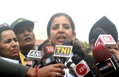 New Delhi: Advocate Aishwarya Bhati, lawyer of Lt Col Karamveer Singh, father of Major Aditya Kumar, named in an FIR by Jammu and Kashmir Police in civilian killings during a firing incident, talks to the press at Supreme court after a hearing in the case, on Feb 12, 2018. Major Kumar and other soldiers of 10 Garhwal Rifles have been accused of opening fire and fatally injuring three civilians when a stone-pelting mob attacked an army convoy near Ganowpora village in Shopian district on January
