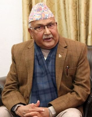 KATHMANDU, Feb. 15, 2018 (Xinhua) -- Chairman of the Communist Party of Nepal (Unified Marxist-Leninist) (CPN-UML) KP Sharma Oli talks in an exclusive interview with Xinhua in Kathmandu, Nepal, on Feb. 13, 2017. Chairman of CPN-UML party KP Sharma Oli on Thursday became the 41st Prime Minister of Nepal. (Xinhua/Sunil Sharma/IANS)