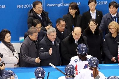 Gangneung: President Moon Jae-in (2nd from L), along with International Olympic Committee President Thomas Bach (3rd from L) and Kim Yong-nam, president of North Korea