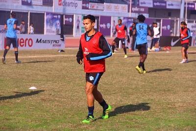 New Delhi: Footballer Abhishek Ambekar during a practice session in New Delhi on Feb 22, 2018. (Photo: IANS)