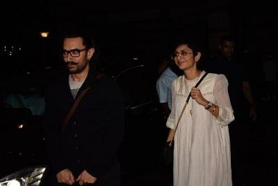 "Mumbai: Actor Aamir Khan along with his wife Kiran Rao during the success party of his film ""Secret Superstar"" in Mumbai, on Feb 21, 2018. (Photo: IANS)"