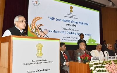 "New Delhi: NITI Ayog Vice Chairman Rajiv Kumar addresses during the National Conference ""Agriculture 2022- Doubling Farmers"