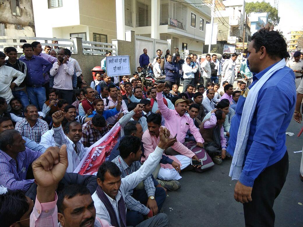 Gau rakshaks protesting in Bhopal.