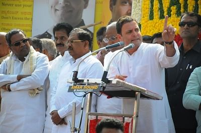 Kushtagi: Congress President Rahul Gandhi addresses during the third day of