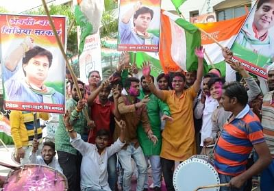 Bhopal: Congress workers celebrate the party