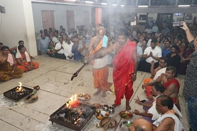 Panaji: People perform yagna to pray for health of Goa Chief Minister Manohar Parrikar in Panaji on Feb 23, 2018. (Photo: IANS)