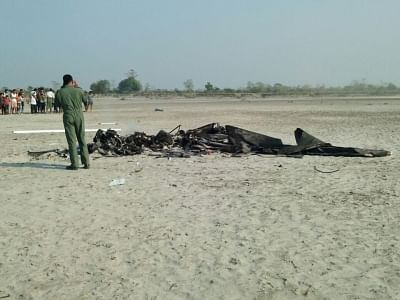 Majuli: The debris of an IAF helicopter that crashed at Horchapori in Majuli, Assam on Feb 15, 2018. (Photo: IANS)