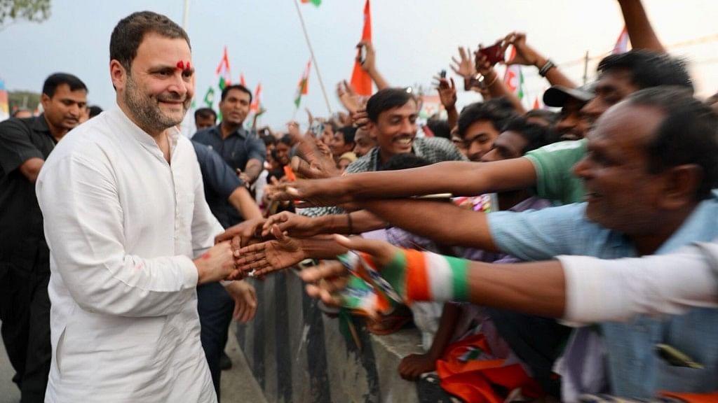 Rahul Gandhi interacting with the crowd on the third day of his North Karnataka rally.