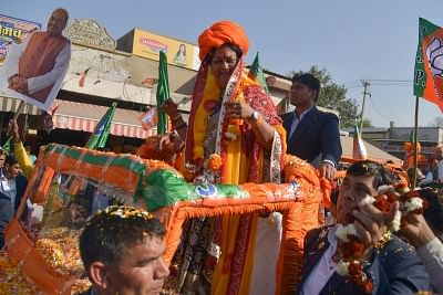 Ajmer: Rajasthan Chief Minister Vasundhara Raje during a roadshow ahead of  Ajmer by-election on Jan 27, 2018. (Photo: Shaukat Ahmed/IANS)