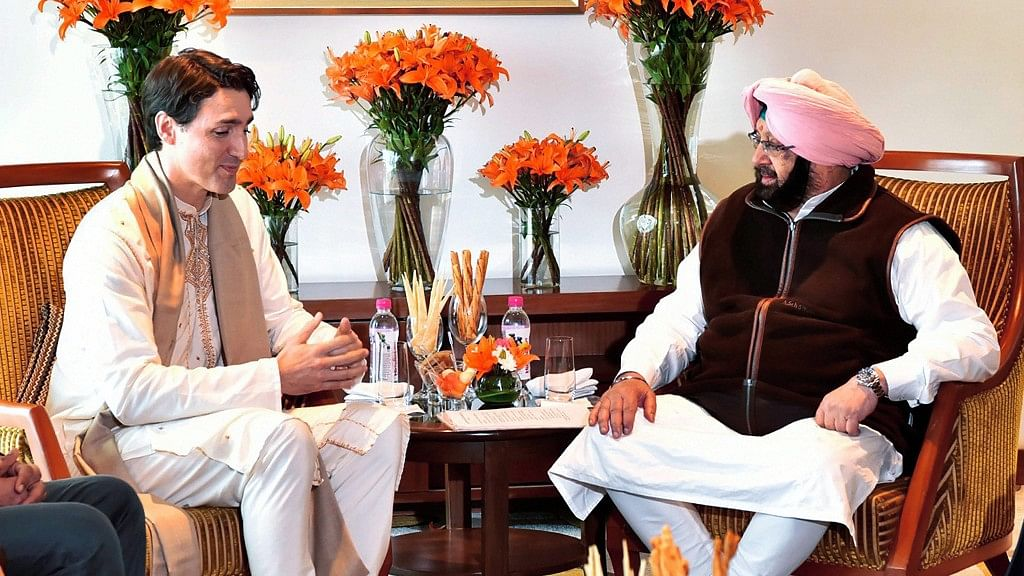Canadian Prime Minister Justin Trudeau meets with Punjab Chief Minister Amarinder Singh in Amritsar on 21 February.