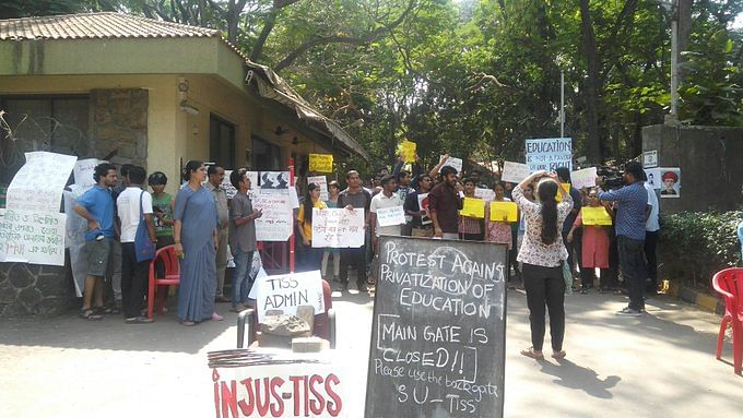 TISS Students Protest Near HRD Ministry Against Withdrawal of Aid