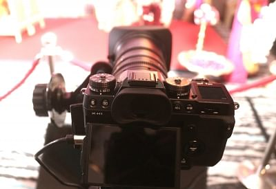 New Delhi: A view of the newly launched Fujifilm X-H1 camera on display in New Delhi on Feb 22, 2018. (Photo: IANS)
