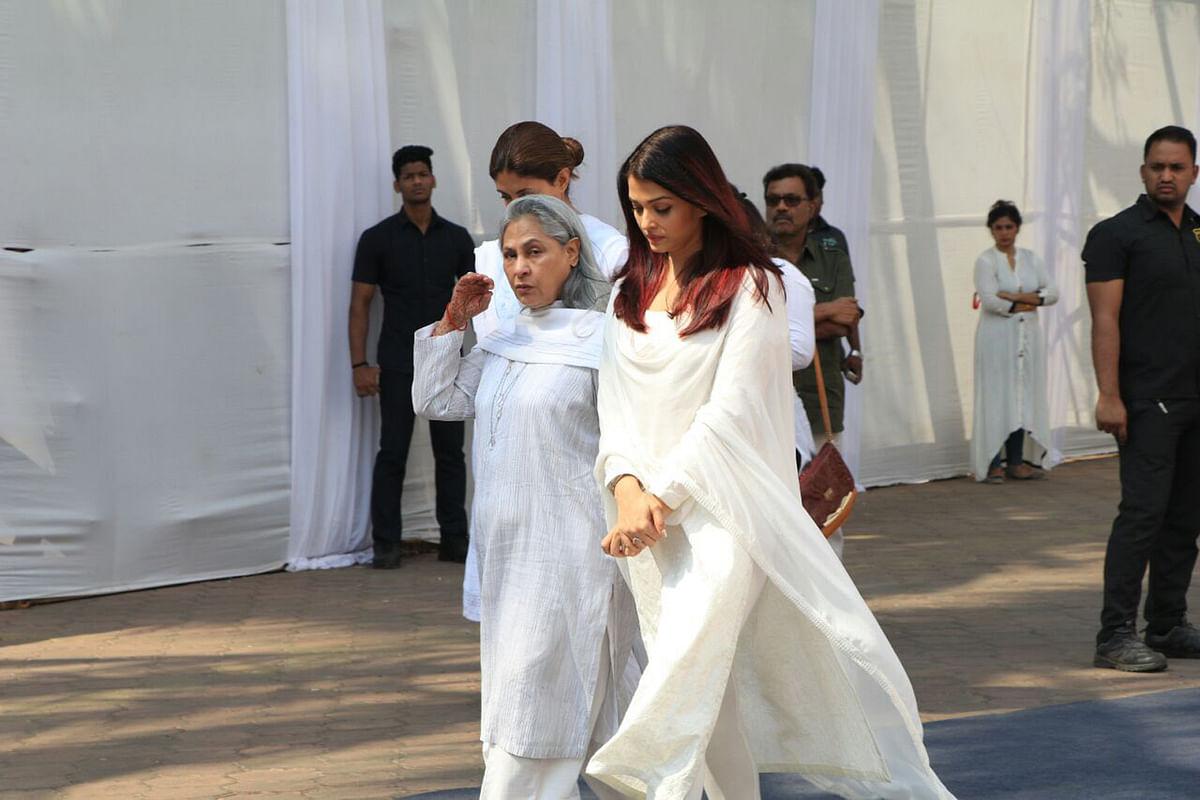 Jaya Bachchan with Aishwarya Rai Bachchan walk into the Celebration Sports Club.