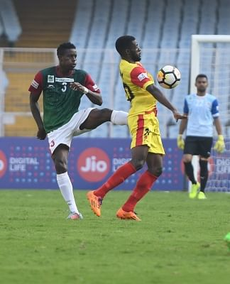 Kolkata: Players in action during an I-League match between Gokulam Kerala FC and Mohun Bagan AC at the Salt Lake Stadium in Kolkata on Feb 12, 2018. (Photo: IANS)