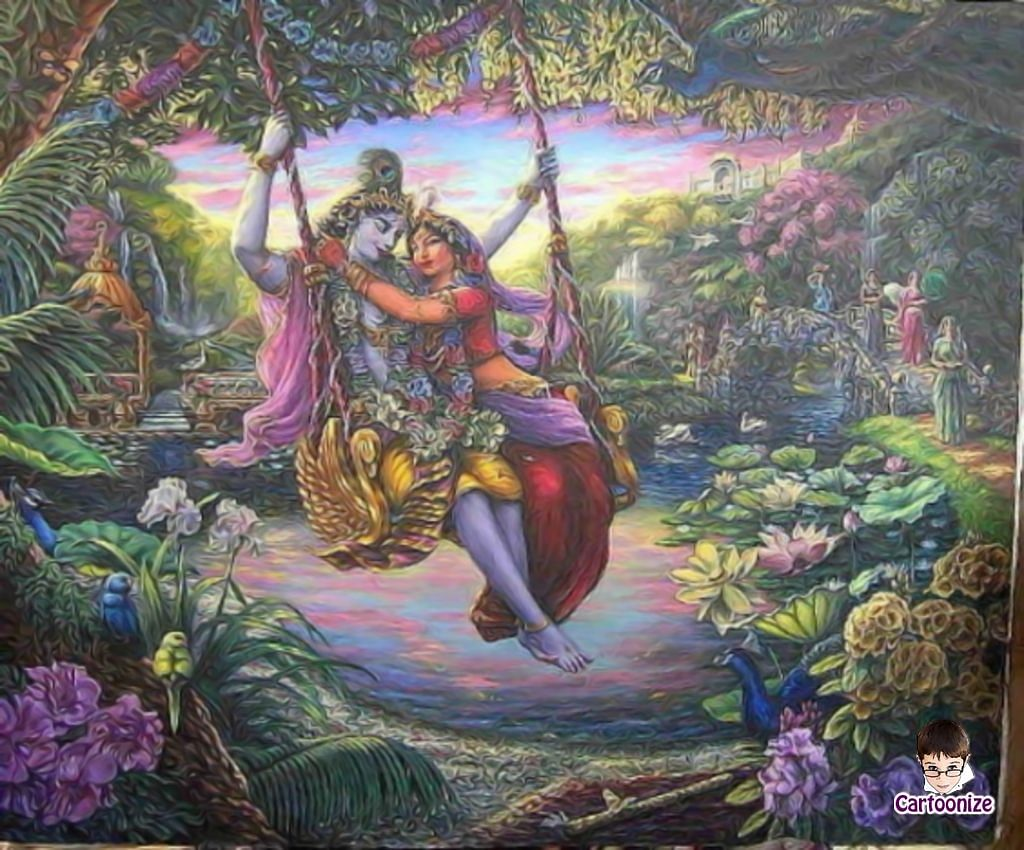Vaishnava folklore is  rich with depictions of Krishna and Radha on a swing.