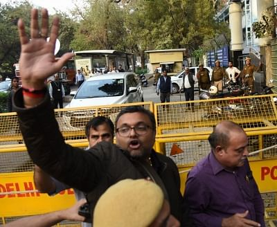 New Delhi: Karti Chidambaram, son of former Finance Minister P. Chidambaram who was arrested by the CBI from Chennai in connection with its ongoing probe into the INX media case, being taken to be produced at Patiala House Court in New Delhi on Feb 28, 2018. (Photo: IANS)