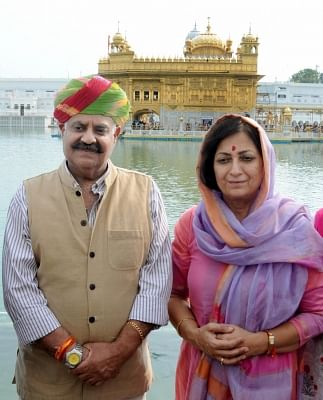 Amritsar: Punjab Governor VP Singh Badnore pays obeisance at the Golden Temple in Amritsar, on Aug 23, 2016. (Photo: IANS)