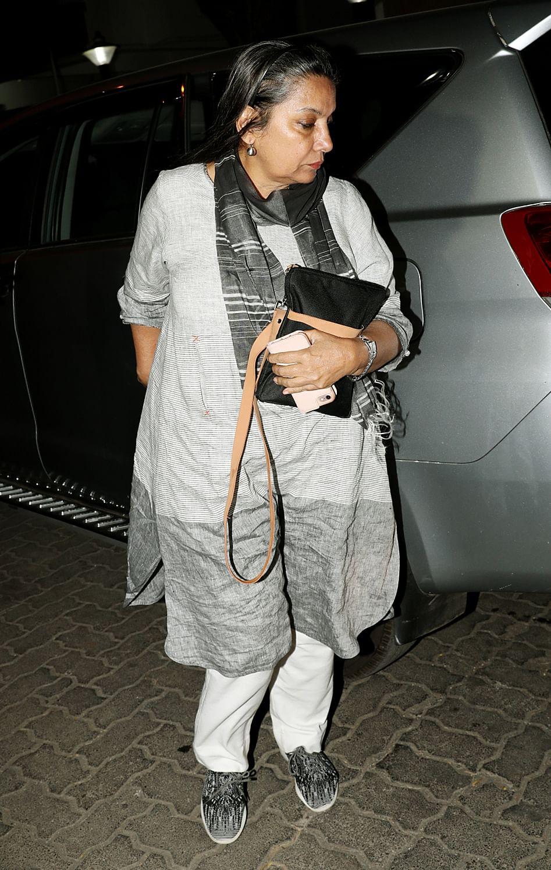 Shabana Azmi outside Anil Kapoor's home on Saturday night.