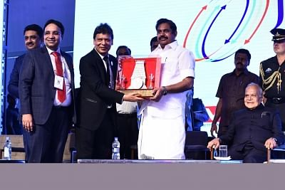 Chennai: Tamil Nadu Governor Banwarilal Purohit, Chief Minister E.K.Palaniswami and others during inauguration of JITO CONNECT 2018 in Chennai on Feb 23, 2018. (Photo: IANS)